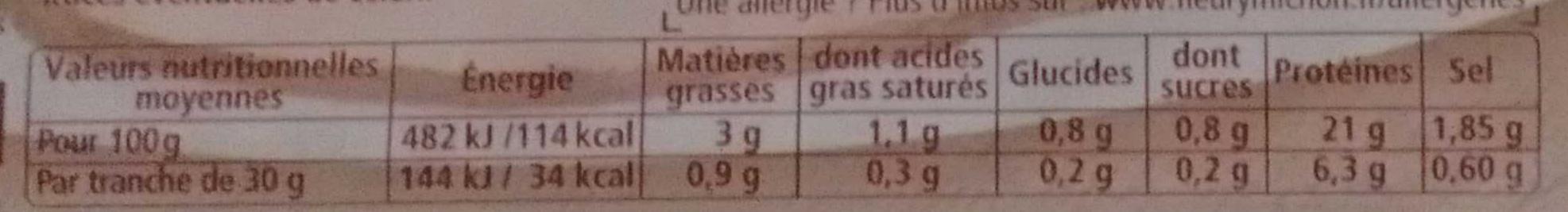 Le rôti à la Broche, Lentement grillé - 4 tranches fines sans couenne - Nutrition facts - fr