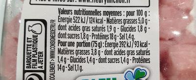 Dés de Jambon -25% de Sel* - Informations nutritionnelles - fr