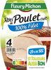 Rôti de poulet cuit  100% filet ** -25% de sel* - 4 tranches - Produit