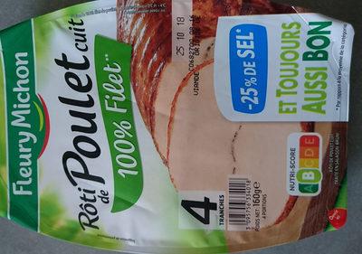 Rôti de poulet cuit  100% filet ** -25% de sel* - 4 tranches - Informations nutritionnelles