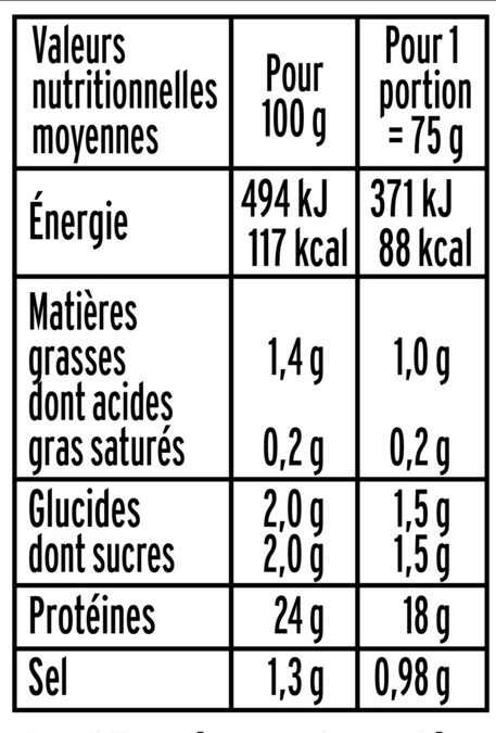 Aiguillettes de poulet rôti - 25% de Sel* - 150 g - Informations nutritionnelles