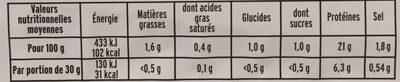 Blanc de Poulet, Viande 100 % Filet (6 Tranches + 3 Gratuites) - Informations nutritionnelles