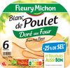 Blanc de poulet doré au four - tranches fines - 25% de sel* - 6 tranches - Produit