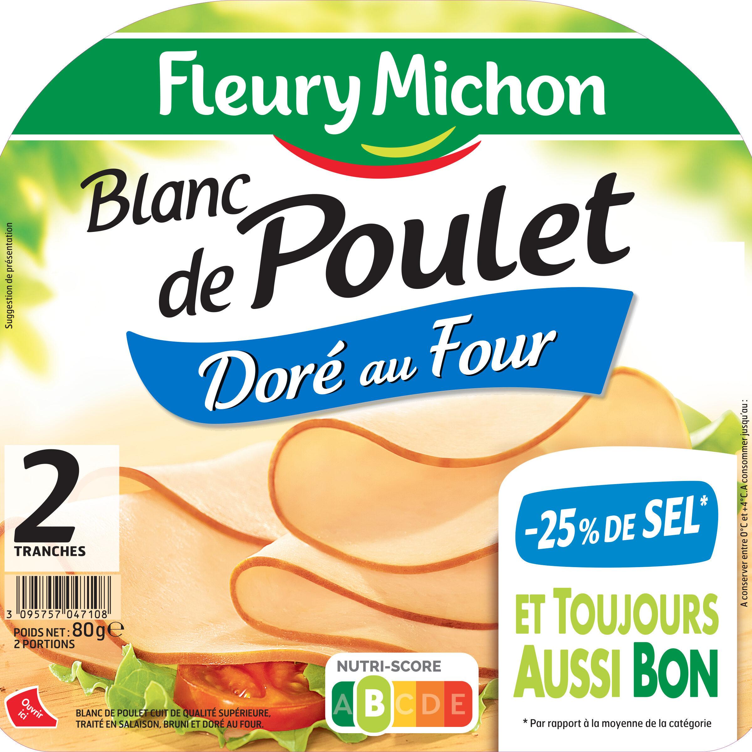 Blanc de poulet doré au four -25% de sel*- 2tr - Produit
