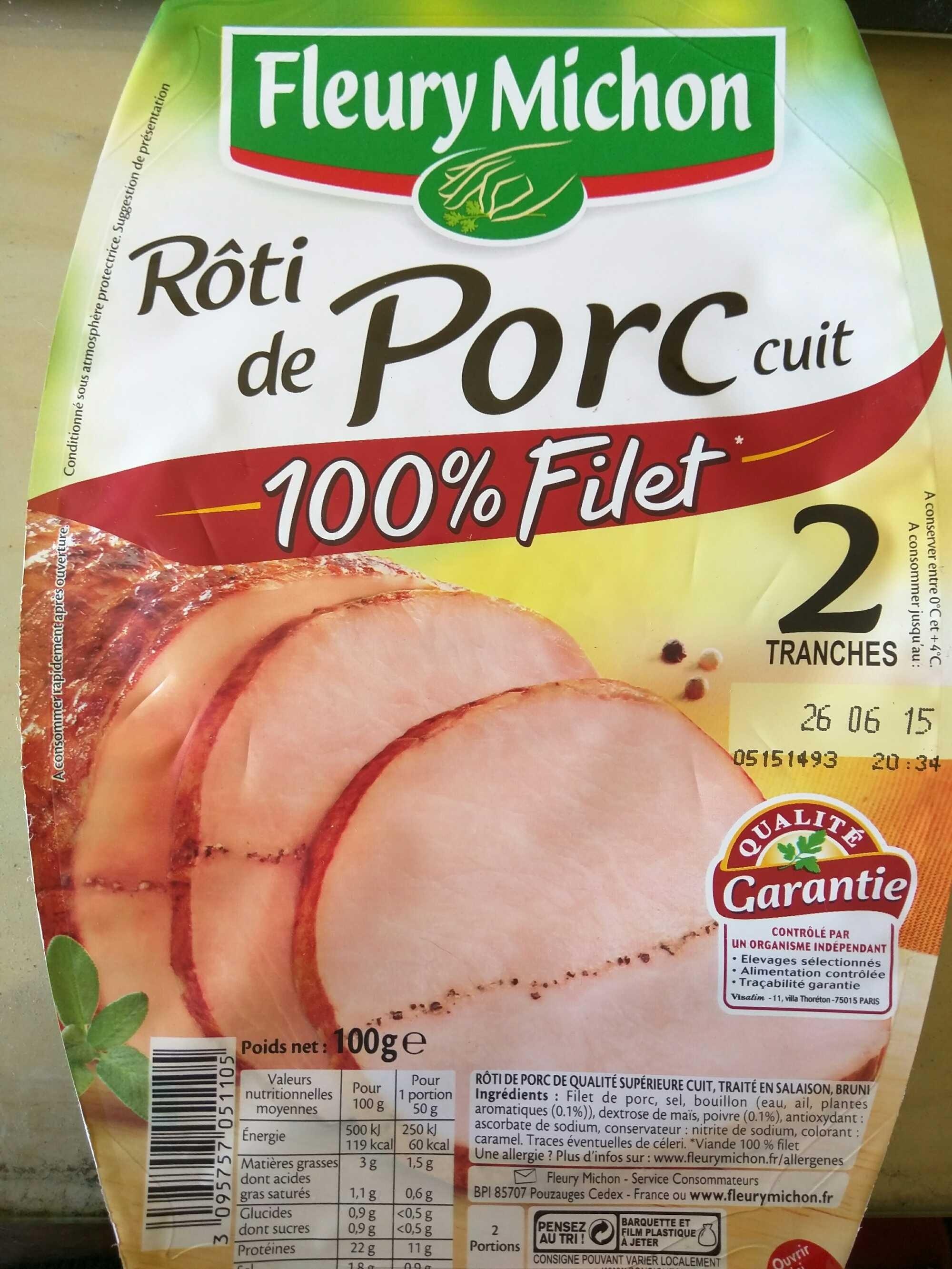 rôti de porc cuit, 100 % filet (2 tranches) - fleury michon - 100 g