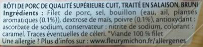 Rôti de Porc cuit, 100 % Filet (2 Tranches) - Ingrédients - fr