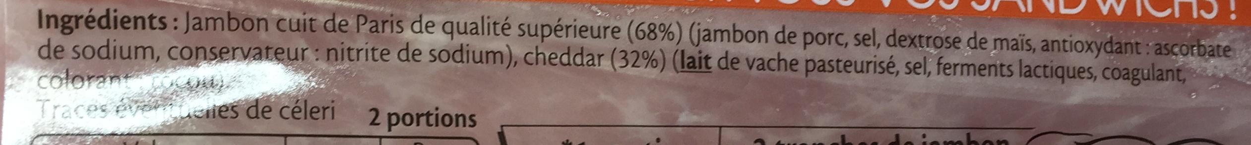 Le Paris & Cheddar spécial Baguette - Ingrédients