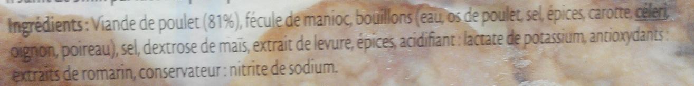 Minis hachés de poulet grillé - 10 pièces - Ingredients - fr
