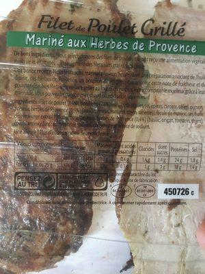 Filet de poulet grillé mariné herbes de Provence - Ingrédients - fr