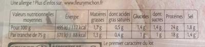 Filet de poulet grillé mariné herbes de Provence - Informations nutritionnelles - fr