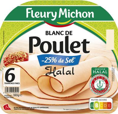 Blanc de Poulet  Halal - 25% de sel*  - 6 tranches fines - Product - fr