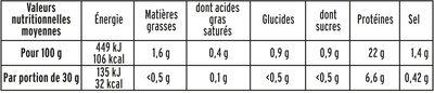 Blanc de Poulet  Halal - 25% de sel*  - 6 tranches fines - Nutrition facts - fr