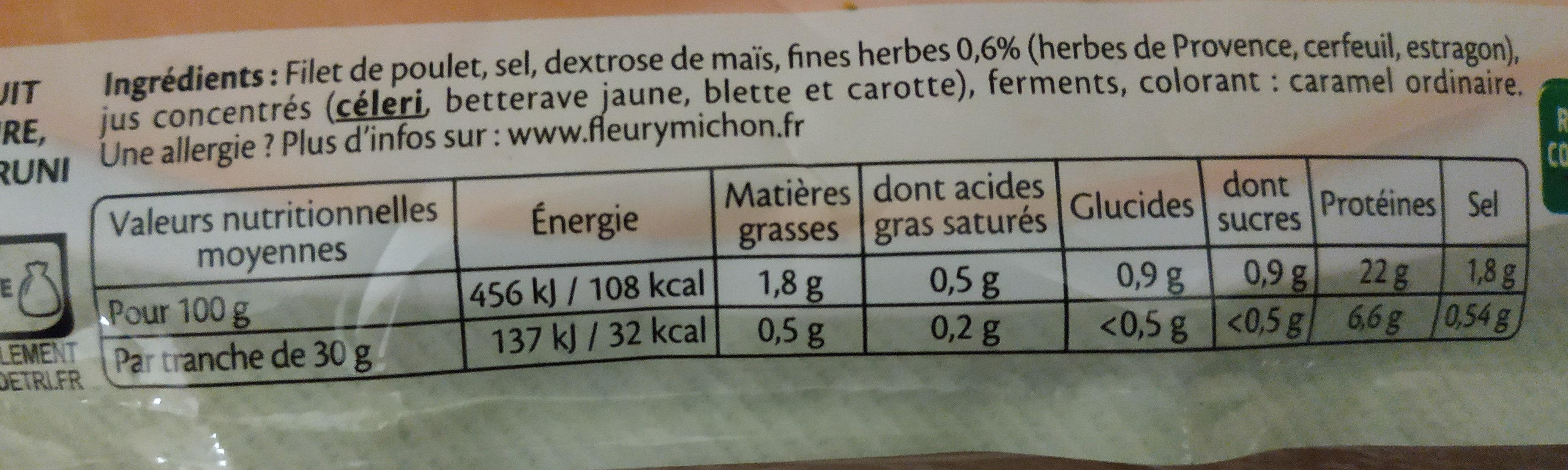 Blanc de poulet fines herbes Halal - 6 tranches fines - Informations nutritionnelles - fr