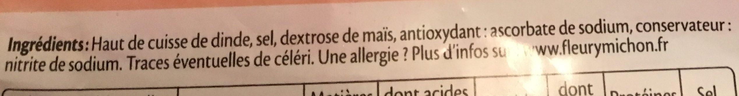 Jambon de dinde Halal - 10 tr. - Ingrédients - fr