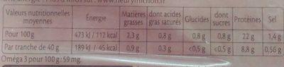 Le supérieur cuit à l'étouffée - 25% de sel* - 2 tranches - Informations nutritionnelles