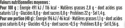 Le supérieur cuit à l'étouffée - 25% de sel* - 2 tranches - Informations nutritionnelles - fr