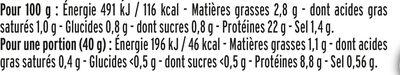 Le supérieur cuit à l'étouffée -25%  sel* - 4 tranches - Informations nutritionnelles - fr