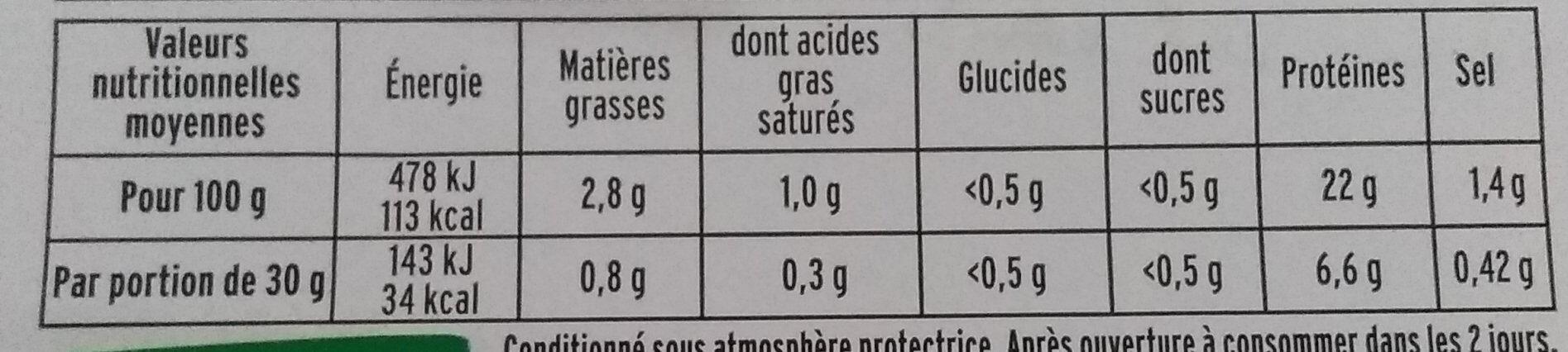 Le supérieur cuit à l'étouffée - tranches fines - 25% de sel * - 6 tranches - Voedingswaarden - fr