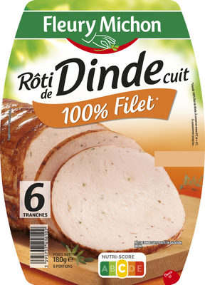 Rôti de dinde cuit 100% filet* - 6 tranches - Product