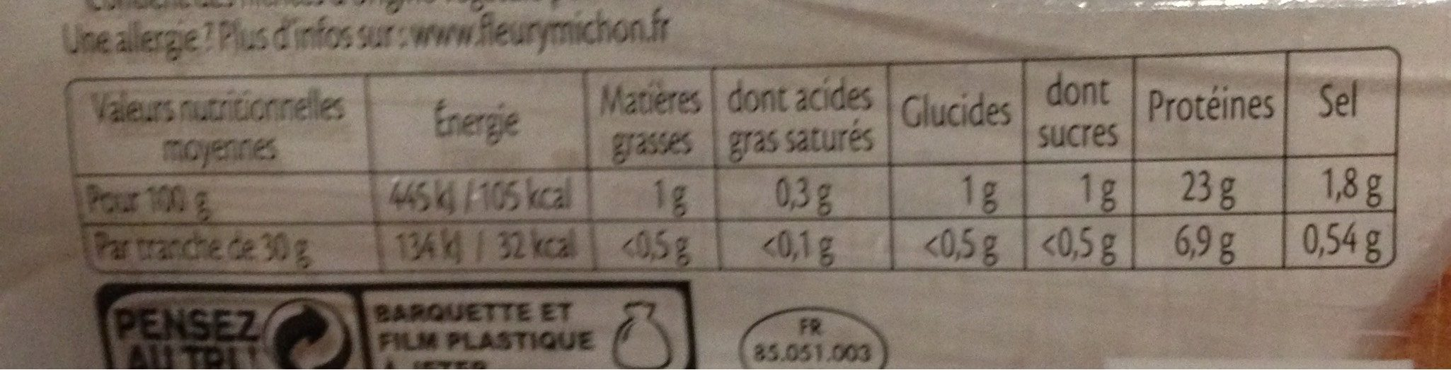 Rôti de dinde cuit 100% filet* - 6 tranches - Nutrition facts