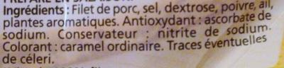 Rôti de Porc cuit 100% Filet - Ingrédients - fr