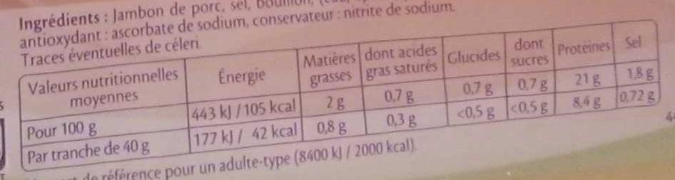 Le supérieur léger - 2tr. - Nutrition facts