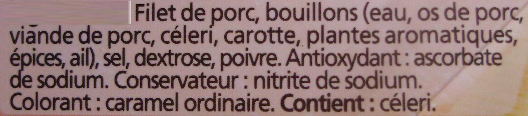 Rôti de Porc cuit, Label Rouge (4 Tranches) - Ingrédients