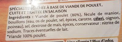 Le haché de poulet grillé  - 2 pièces - Ingredients