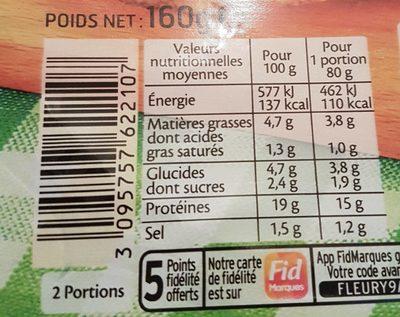 Le haché de poulet grillé  - 2 pièces - Nutrition facts