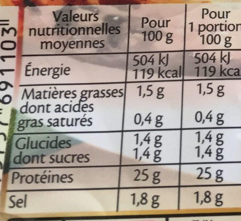 Filet de Poulet - Rôti au Four - Valori nutrizionali - fr
