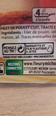 Filet de Poulet - Rôti au Four - Istruzioni per il riciclaggio e/o informazioni sull'imballaggio - fr