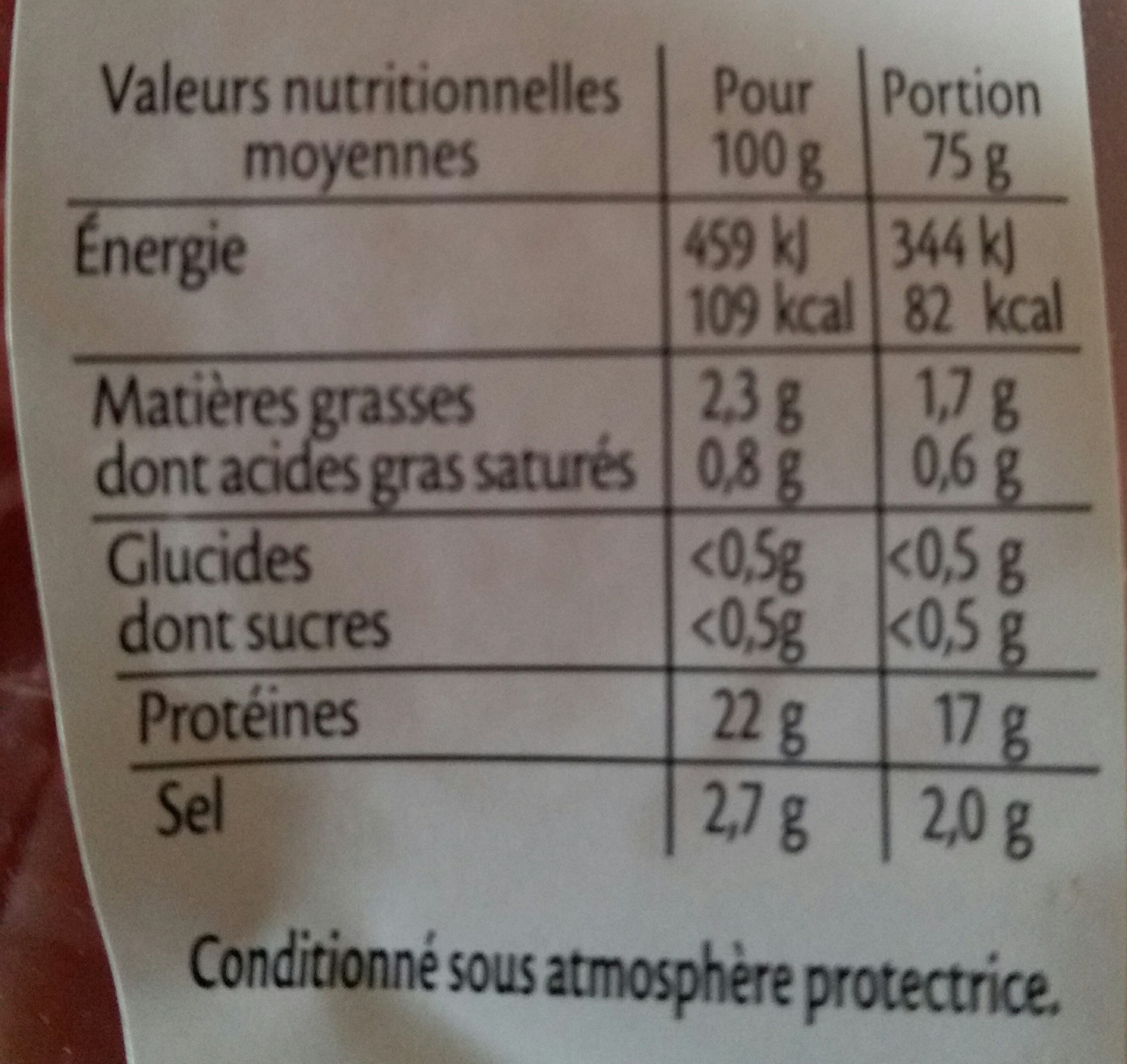 Emincés de bacon fumés - Valori nutrizionali - fr