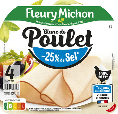 Blanc de poulet  -25% de sel* - 100% filet** - 4tr - Product - fr