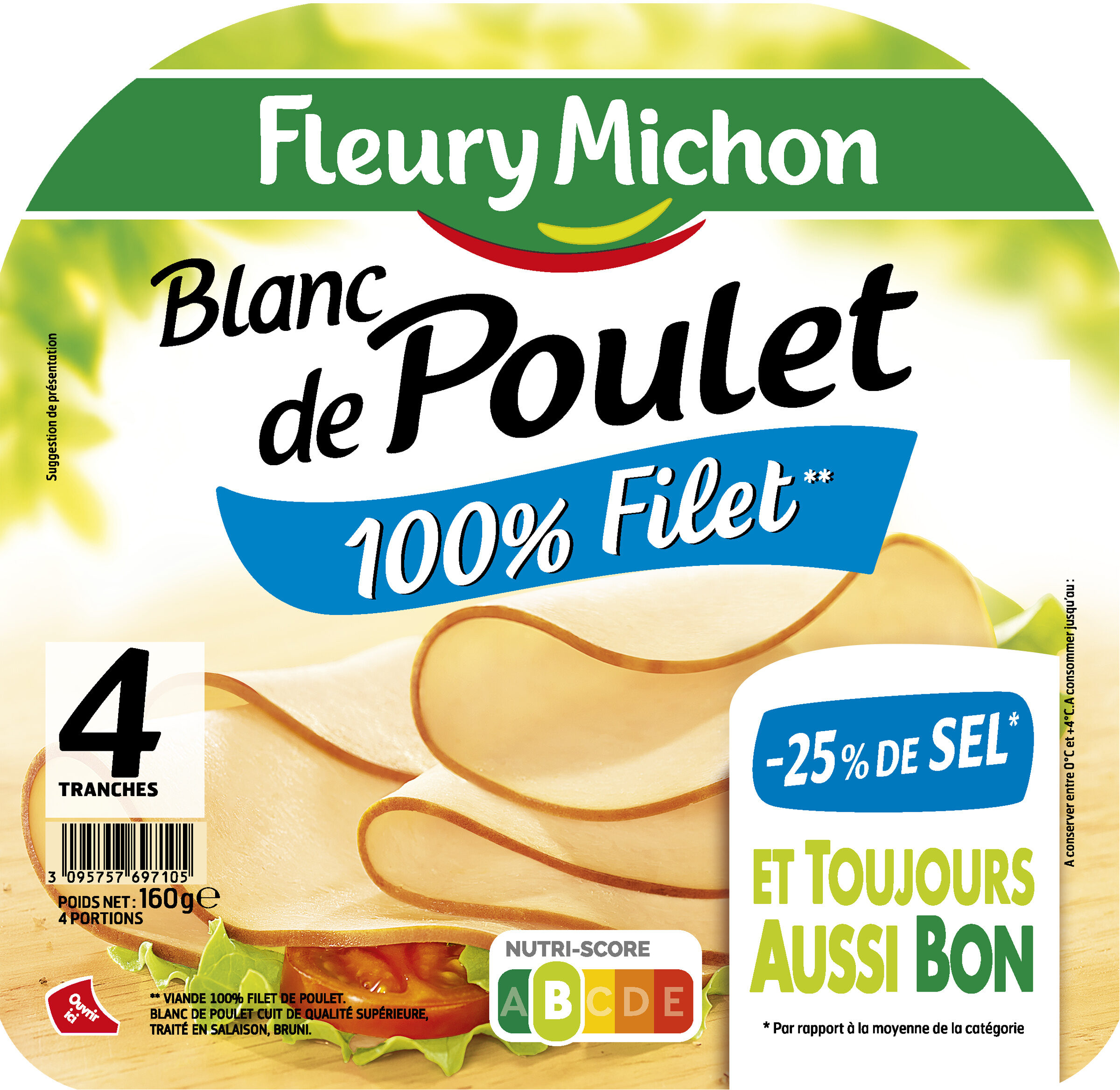 Blanc de poulet  -25% de sel* - 100% filet** - 4tr - Product - fr
