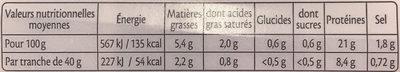 Le Supérieur, avec couenne - Valori nutrizionali - fr
