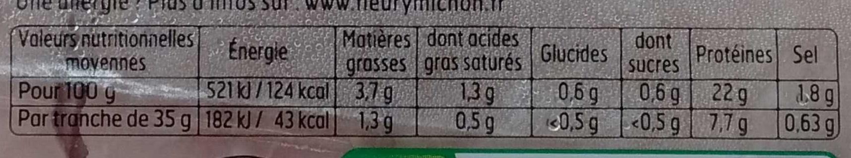 FILIERE FRANCAISE D'ELEVEURS ENGAGES - Le Supérieur à l'étouffée - 4 tranches - Valori nutrizionali - fr