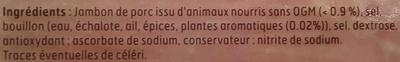 J'aime le jambon - 2 tranches - Inhaltsstoffe - fr