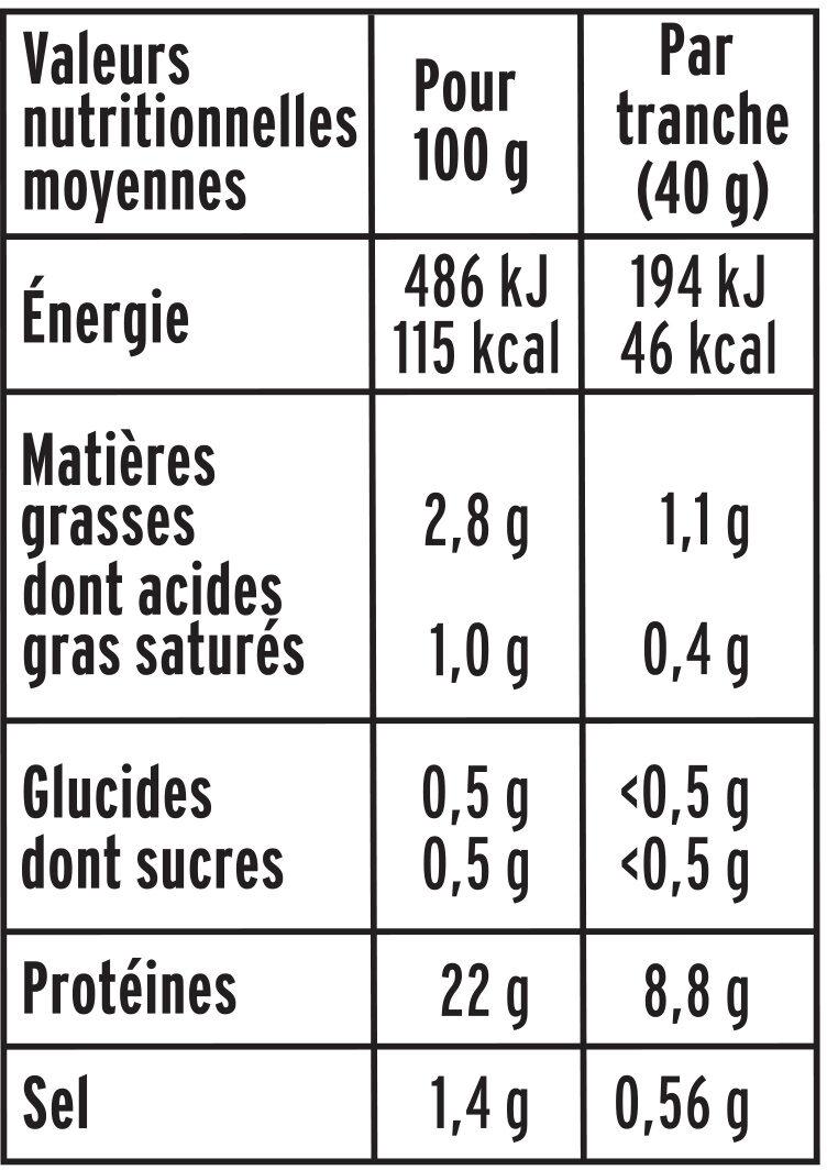 Le Torchon - Cuit à l'Etouffée  - 25% de sel* - Informations nutritionnelles - fr