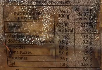 FILET TRANCHE DE POULET BARBECUE - 4tr. - Voedigswaarden