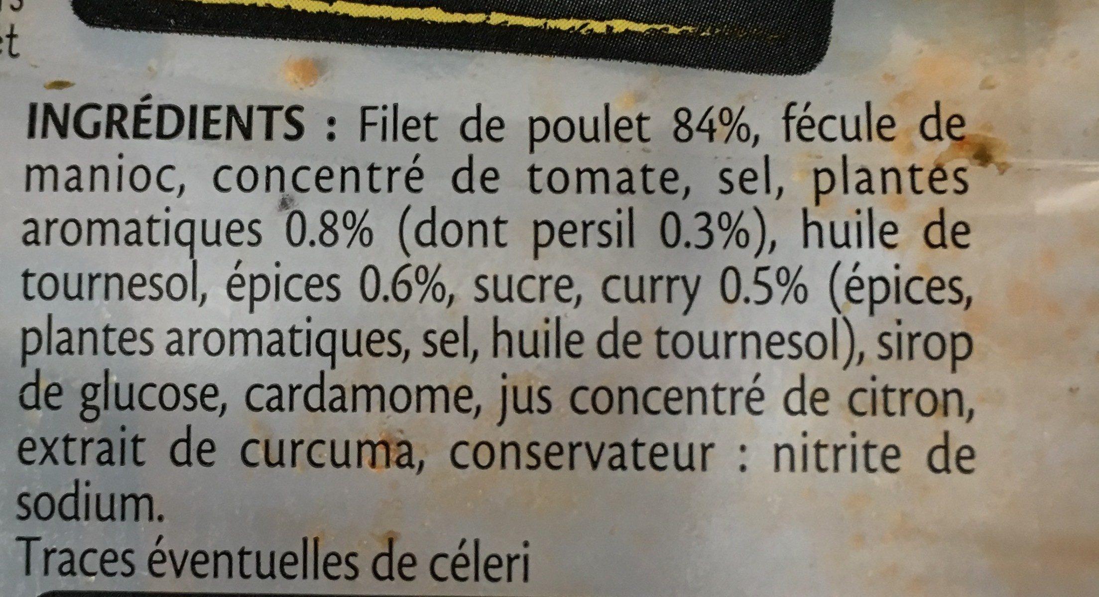 FILET TRANCHE DE POULET CURRY - 4 tr. - Ingrediënten
