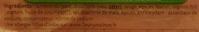 Jambon sans couenne sel reduit - Ingrediënten - fr