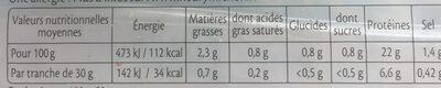 Le Supérieur -25% de Sel - Voedingswaarden - fr