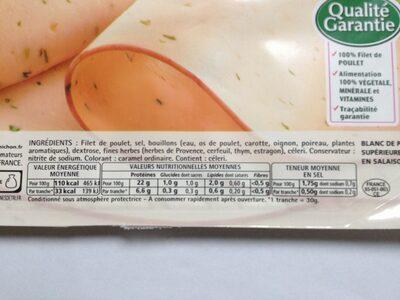 Blanc de poulet aux fines herbes - 4 tranches fines - Informations nutritionnelles - fr