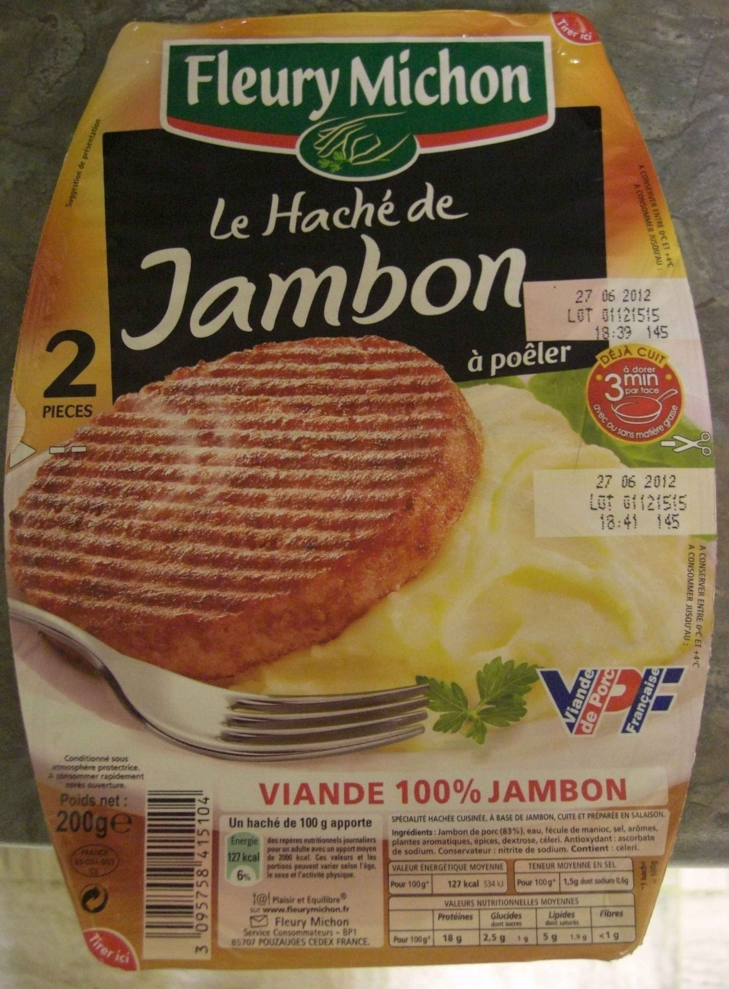 Le Haché de Jambon à poêler (2 Pièces) - Produit - fr