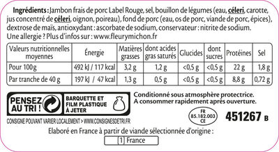 Le supérieur Label Rouge - 4 tranches sans couenne - Ingrediënten