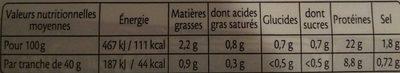 Jambon Le Fumé au bois de chêne sans couenne - 4 tr. - Informations nutritionnelles - fr