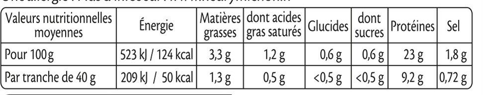 Rôti de porc cuit Label Rouge - 4 tranches - Valori nutrizionali - fr