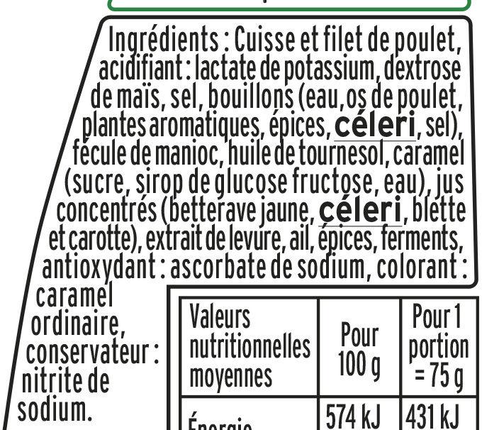 Allumettes de poulet nature - Ingredienti - fr