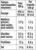 Le Paris sans couenne - 25% de Sel*- 4tr - Voedingswaarden - fr
