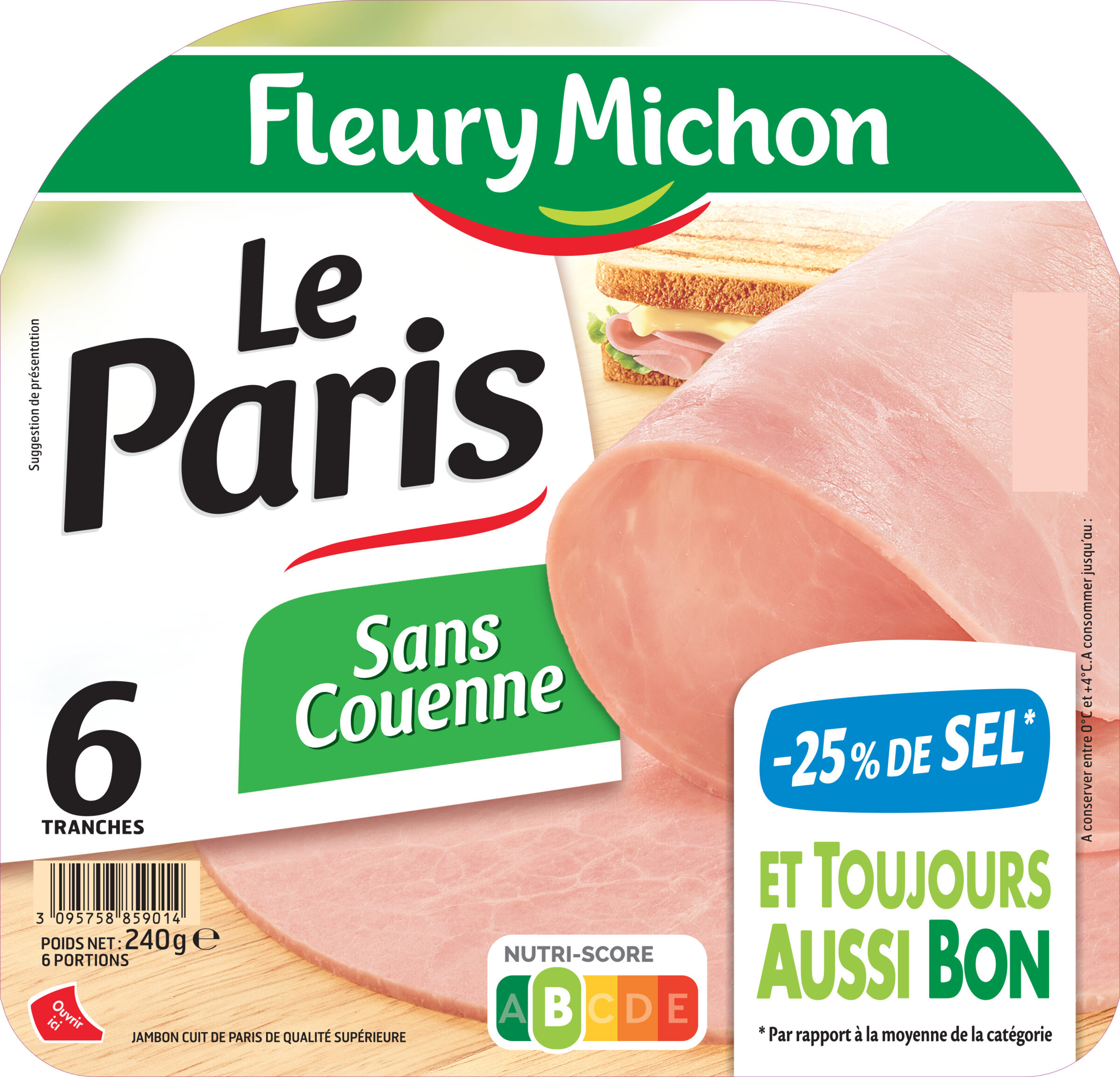 Le Paris  sans couenne - 25% de Sel*- 6 tr - Product